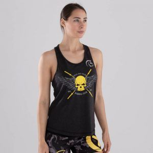 camiseta-crossfit-mujer-ecoactive-barbell-club-yellow